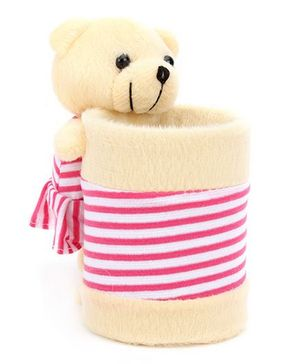 Teddy Bear Pencil Holder - Cream And Pink