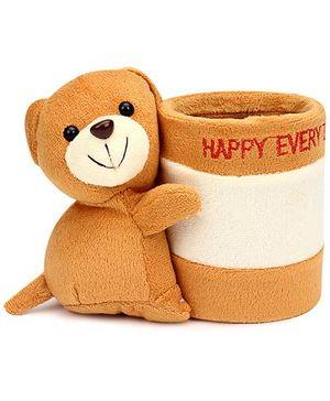 Teddy Bear Pattern Pencil Holder - Brown
