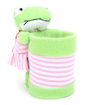 Frog Design Pencil Holder - Green And Pink
