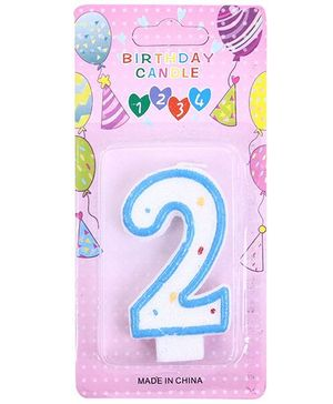 2nd Birthday Candle - Blue And White