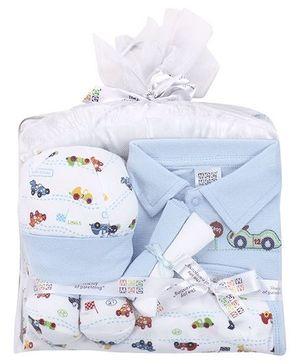 Mee Mee Baby Gift Set Vehicle Print Pack Of 7 - Blue