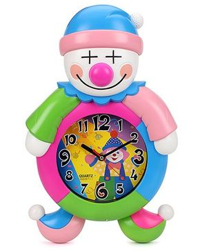 Clown Shape Kids Wall Clock - Multi Color
