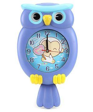 Owl Shape Kids Wall Clock - Blue