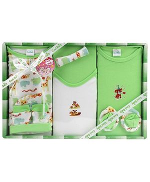 Cool Baby Baby Gift Set Puppy Print Green - Pack Of 8 Pieces