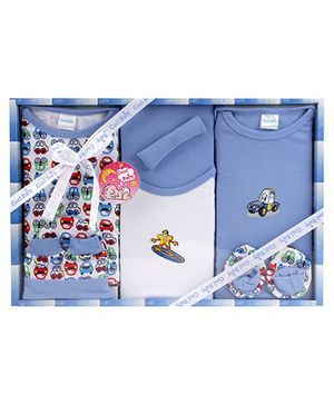 Cool Baby Baby Gift Set Car Print Blue - Pack Of 8 Pieces