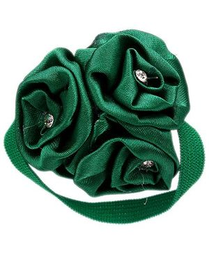 Dchica Elastic Rubber Band Silk Flower With Diamond Detail - Green