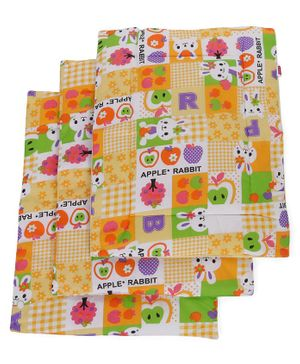 Babyhug Multi Purpose Baby Mat Apple Rabbit Print Set Of 4 - Yellow