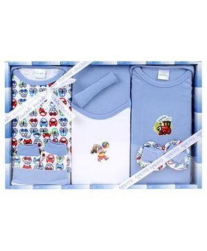 Cool Baby Baby Gift Set Car And Bunny Print Sky Blue - Pack Of 8 Pieces