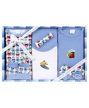 Cool Baby Baby Gift Set Cars And Train Print Blue - Pack Of 8 Pieces