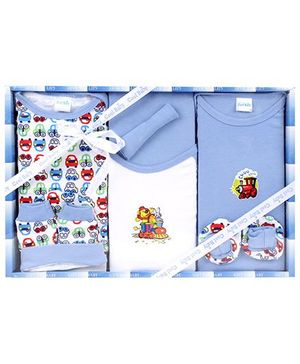 Cool Baby Baby Gift Set Vehicles Print Blue - Pack Of 8 Pieces