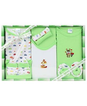 Cool Baby Baby Gift Set Animal And Cars Print Green - Pack Of 8 Pieces