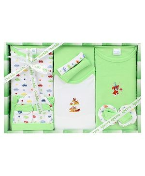 Cool Baby Baby Gift Set Cars And Bunny Print Green - Pack Of 8 Pieces