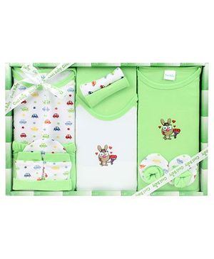 Cool Baby Baby Gift Set Stars And Cars Print Green - Pack Of 8 Pieces