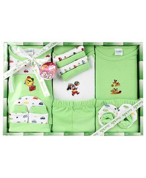 Cool Baby Baby Gift Set Animals Print Green - Pack Of 15 Pieces