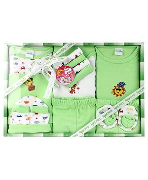 Cool Baby Baby Gift Set Sun Print Green - Pack Of 8 Pieces