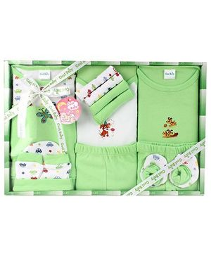 Cool Baby Baby Gift Set Animals Print Green And White - Pack Of 8 Pieces