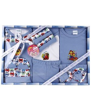 Cool Baby Baby Gift Set Train And Car Print Blue - Pack Of 15 Pieces
