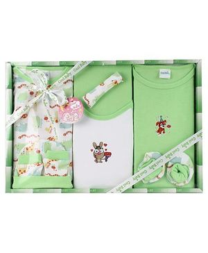 Cool Baby Baby Gift Set Bee And Snake Print Green - Pack Of 8 Pieces
