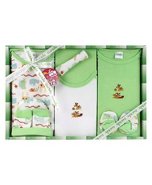 Cool Baby Baby Gift Set Giraffe Print Green - Pack Of 8 Pieces