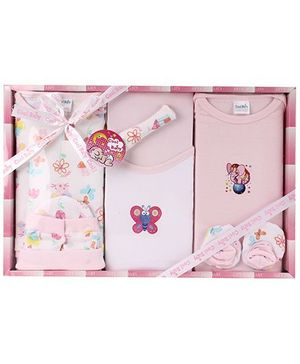 Cool Baby Baby Gift Set Butterfly Print Pink - Pack Of 8 Pieces