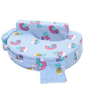 Babyhug Feeding Pillow Teddy Print - Sky Blue