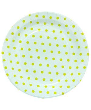 Partymanao Paper Plates Polka Dot Print - Yellow And White