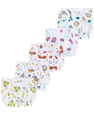 Babyhug Interlock Fabric Velcro Closure Nappy Medium Multi Print - Pack of 5