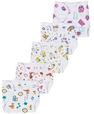 Babyhug Interlock Fabric Velcro Closure Nappy Multi Print - Pack of 5