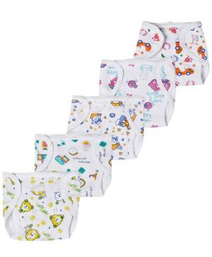 Babyhug Interlock Fabric Velcro Closure Nappy Multi Print - Pack of 5