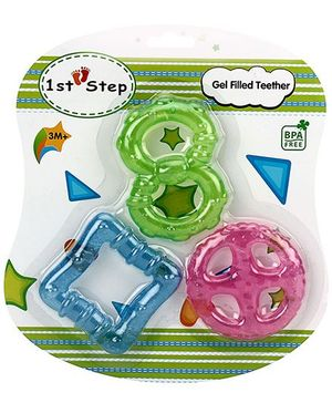 1st Step Gel Filled Teether Blue Green Pink - Pack Of 3