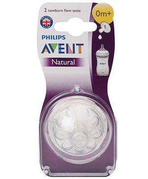 Avent Silicone Natural Teat 1 Hole Newborn - Pack Of 2
