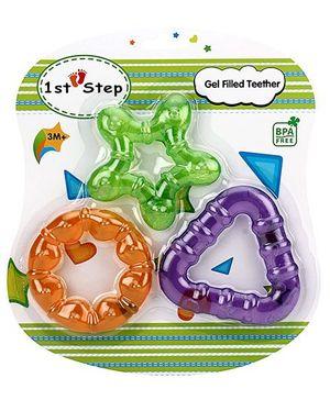 1st Step Gel Filled Teether Orange Green Purple - Pack Of 3