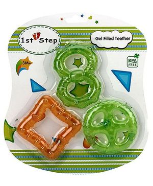 1st Step Gel Filled Teether Orange And Green - Pack Of 3
