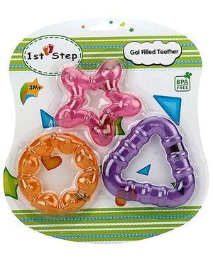 1st Step Gel Filled Teether Orange Pink Purple - Pack Of 3