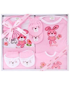 Babyhug Clothing Gift Set Bunny Print Pack Of 7 - Pink