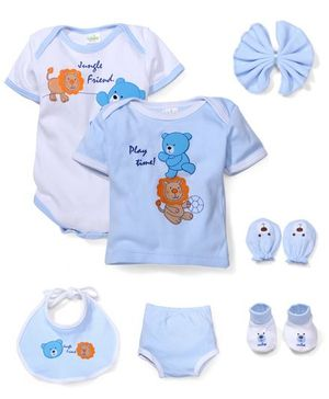 Babyhug Clothing Gift Set Teddy Print Pack Of 7 - Blue