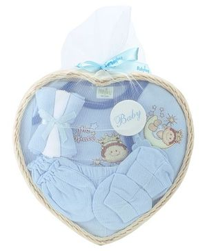 Babyhug Clothing Gift Set Little Princess  Embroidery Pack Of 9 - Blue
