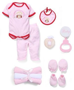 Babyhug Clothing Gift Set Little Princess Embroidery Pack Of 9 - Pink