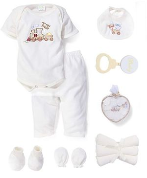 Babyhug Clothing Gift Set My Train Embroidery Pack Of 9 - Cream