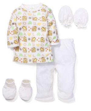 Babyhug Clothing Gift Set Animal Print Pack Of 4 - Cream