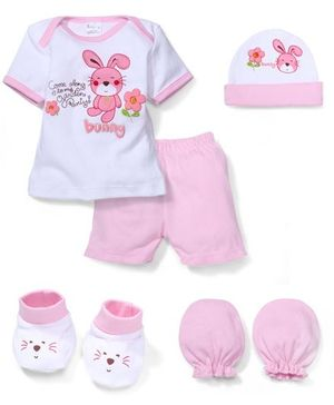 Babyhug Clothing Gift Set Bunny Print Pack Of 5 - Pink