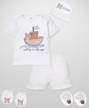 Babyhug Clothing Gift Set Teddy Print Pack Of 5 - Cream