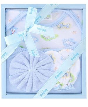 Babyhug Clothing Gift Set Animal Print Pack Of 4 - Blue