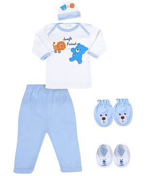 Babyhug Baby Gift Set Blue - Pack of 5 Pieces