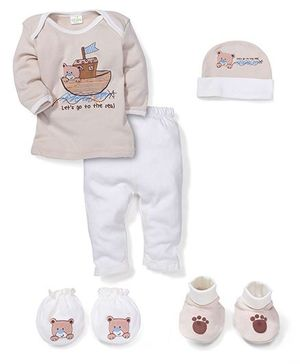 Babyhug Baby Gift Set Bear Print Brown - Pack of 5 Pieces