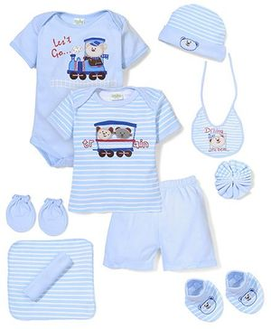 Babyhug Clothing Gift Set Stripe Pattern Pack Of 9 - Blue