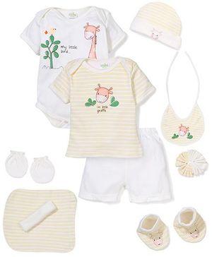 Babyhug Clothing Gift Set Stripe Pattern Pack Of 9 - Yellow