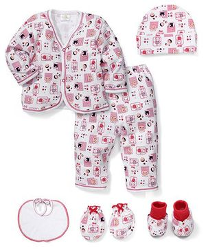 Babyhug Clothing Gift Set Bear Print Pack Of 6 - White And Red