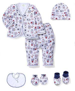 Babyhug Clothing Gift Set Bear Print Pack Of 6 - White And Blue