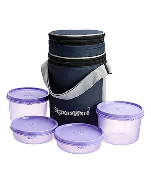 Signoraware Executive Lunch Box Set With Bag Deep Violet - 15 cm